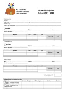 MLC - La Citrouille : Fiche d'inscription de la saison 2021-2022